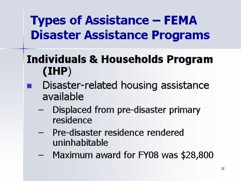 Types of Assistance - FEMA Disaster Assistance Programs